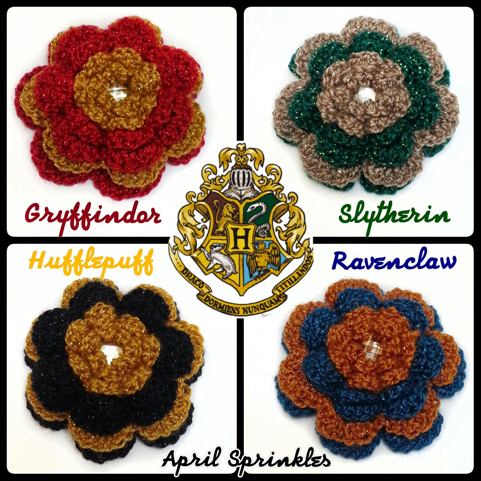 April Sprinkles Hogwarts houses themed flower hair clips/pins