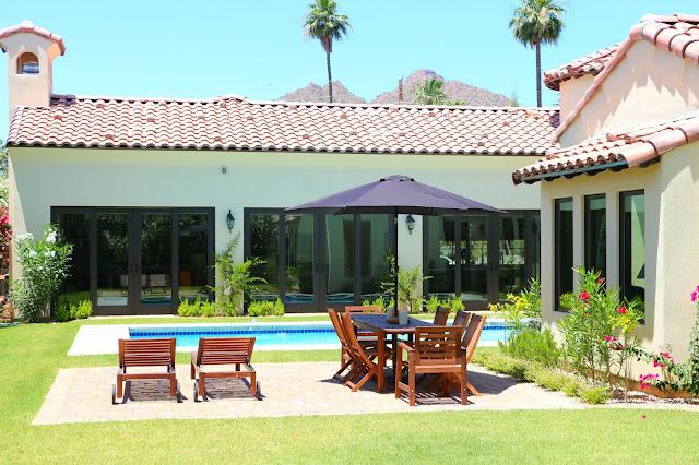 arizona backyards, arizona gardens, mexican style hacienda, swimming pool
