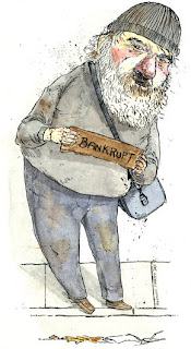 homeless man bankrupt illustration for today's the day harrisburg