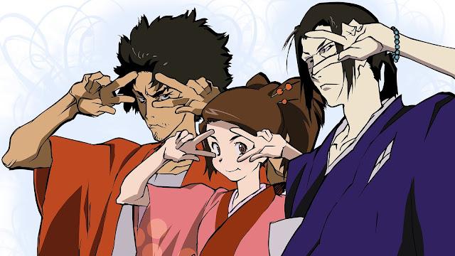 Trzej bohaterowie anime Samurai Shamploo