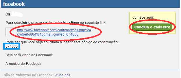 como confirmar email no facebook