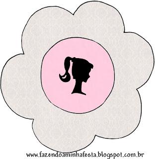 Tarjeta con forma de flor de Barbie Silueta.