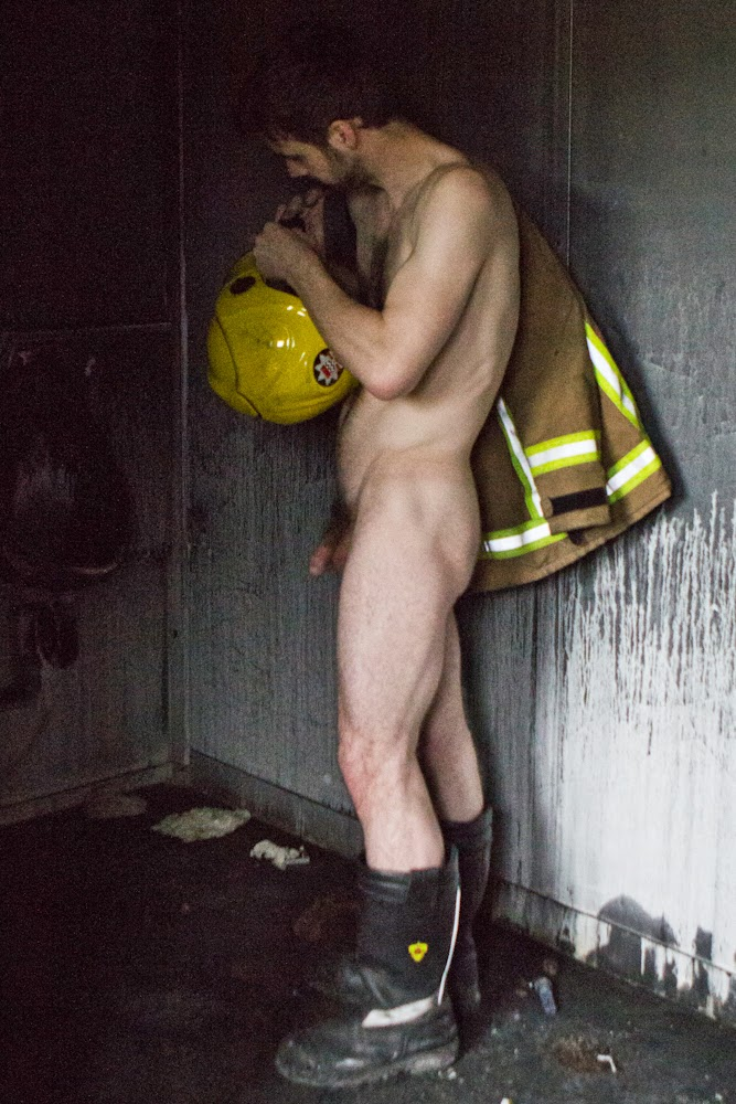 naked man in coveralls