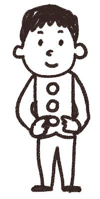 男子中学生・高校生のイラスト「学ラン」 白黒線画