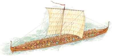 Gambar Kapal Layar Longship lukisan