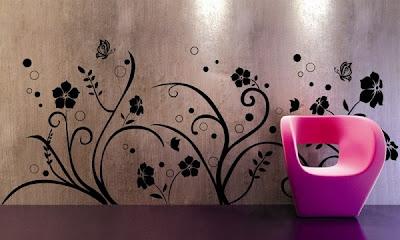 Design wallpaper kamar tidur bunga