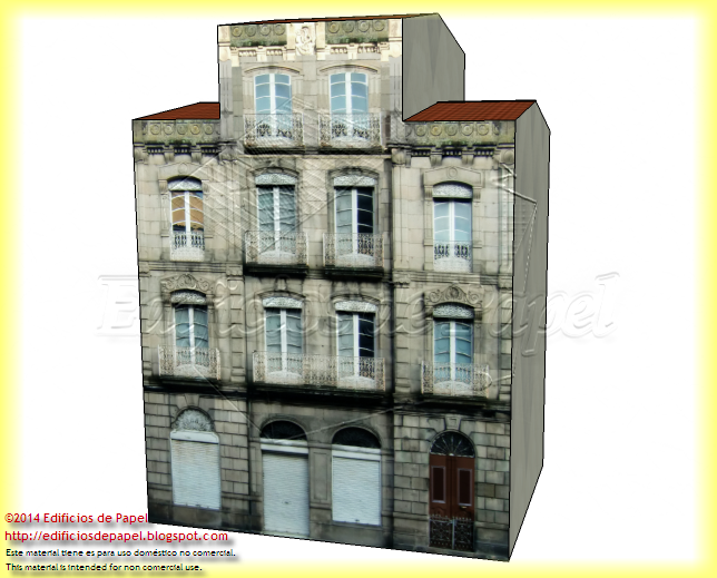 Main façade of the Villanueva Building paper model