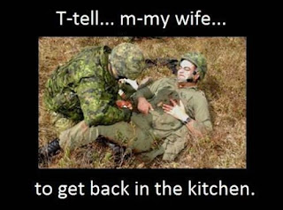 tell my wife to get back in the kitchen