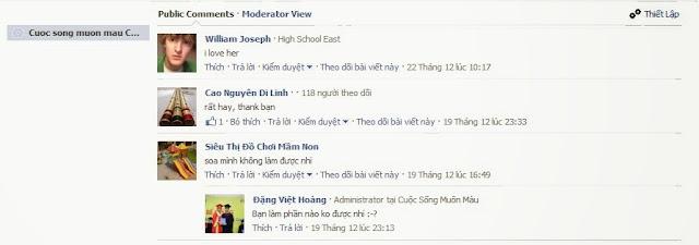 Giao diện quản lý bình luận của Facebook APP