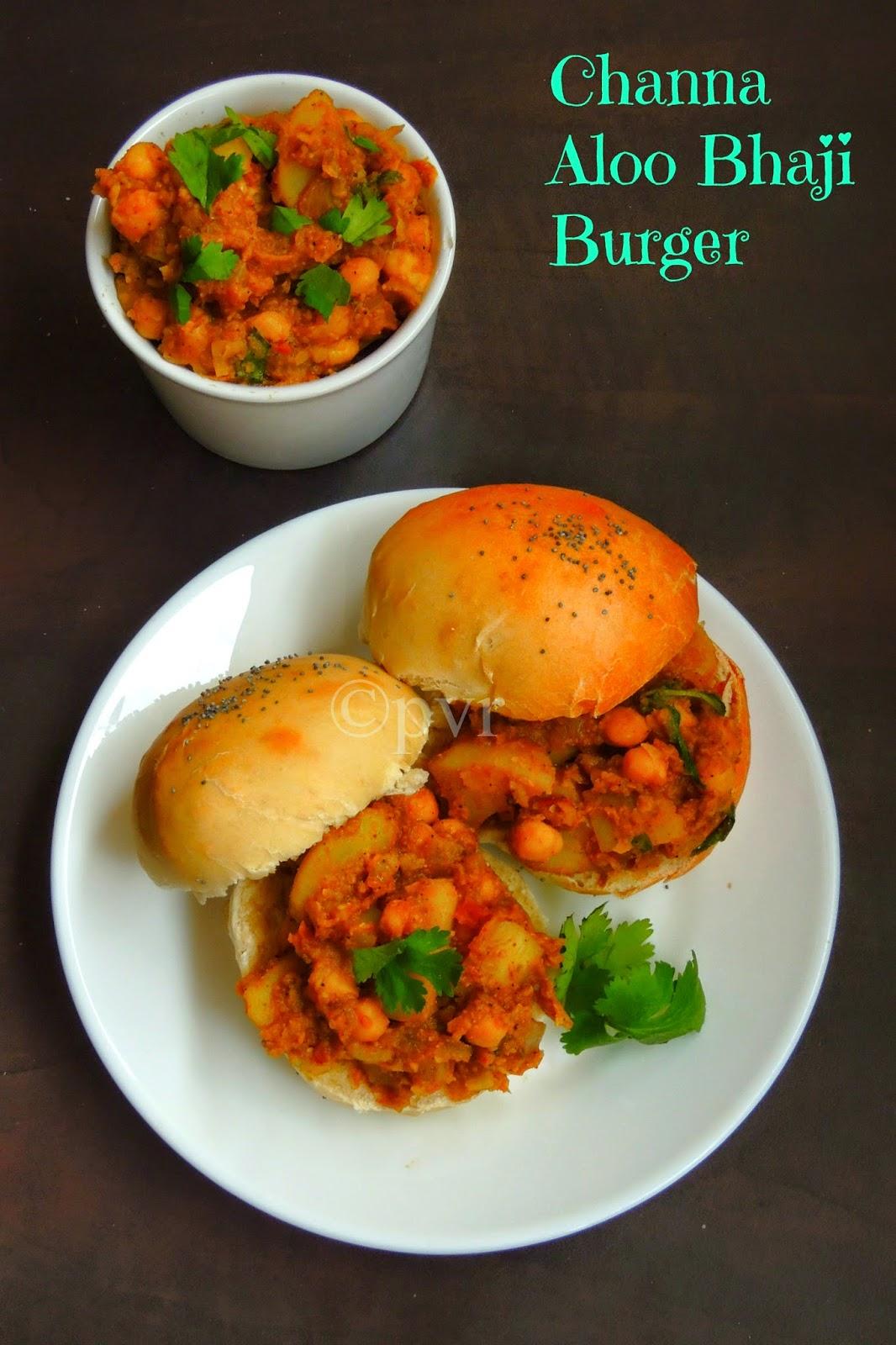 Channa Aloo Bhaji Burger, Channa Aloo Burger Sandwich