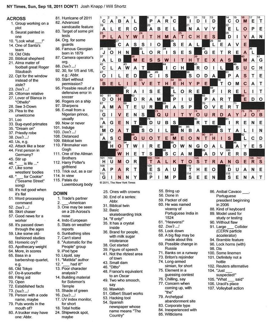 The New York Times Crossword In Gothic Don 39 T