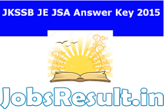JKSSB JE JSA Answer Key 2015