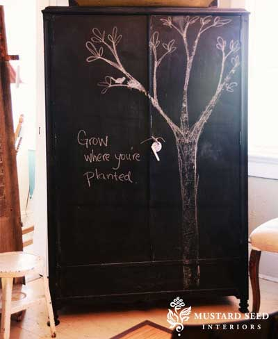 Con cosas de casa pintura de pizarra for Decorar puertas armario