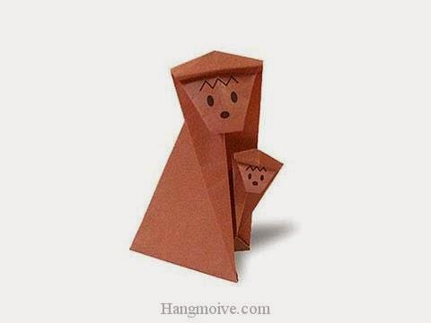 Cách gấp, xếp con khỉ mẹ ôm con bằng giấy origami - Video hướng dẫn xếp hình