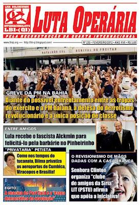 LEIA A EDIÇÃO DO JORNAL LUTA OPERÁRIA, Nº 230, FEVEREIRO/2012