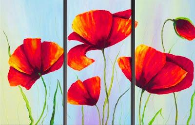 cuadros trípticos de flores al óleo flores en cuadros módulos