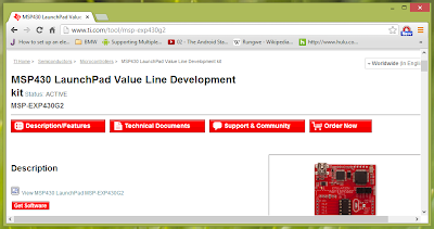 Screenshot showing TI MSP430 Value Line Launchpad driver download page
