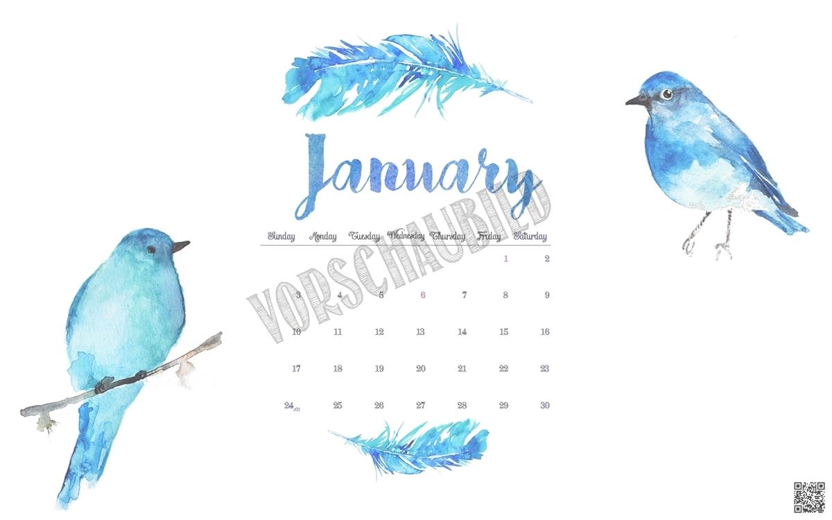 Thumbnail January 2016 Desktop Calender