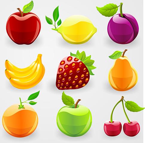 Frutas brillantes y acristaladas 2.0 en vector