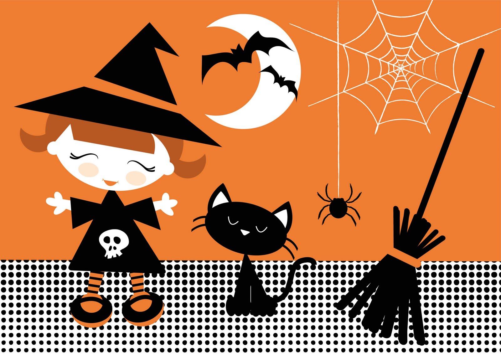 dibujo de bruja con gato, murcielagos, escoba arañas. Brujas de halloween para imprimir