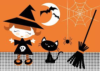 dibujo de bruja con gato, murcielagos, escoba arañas