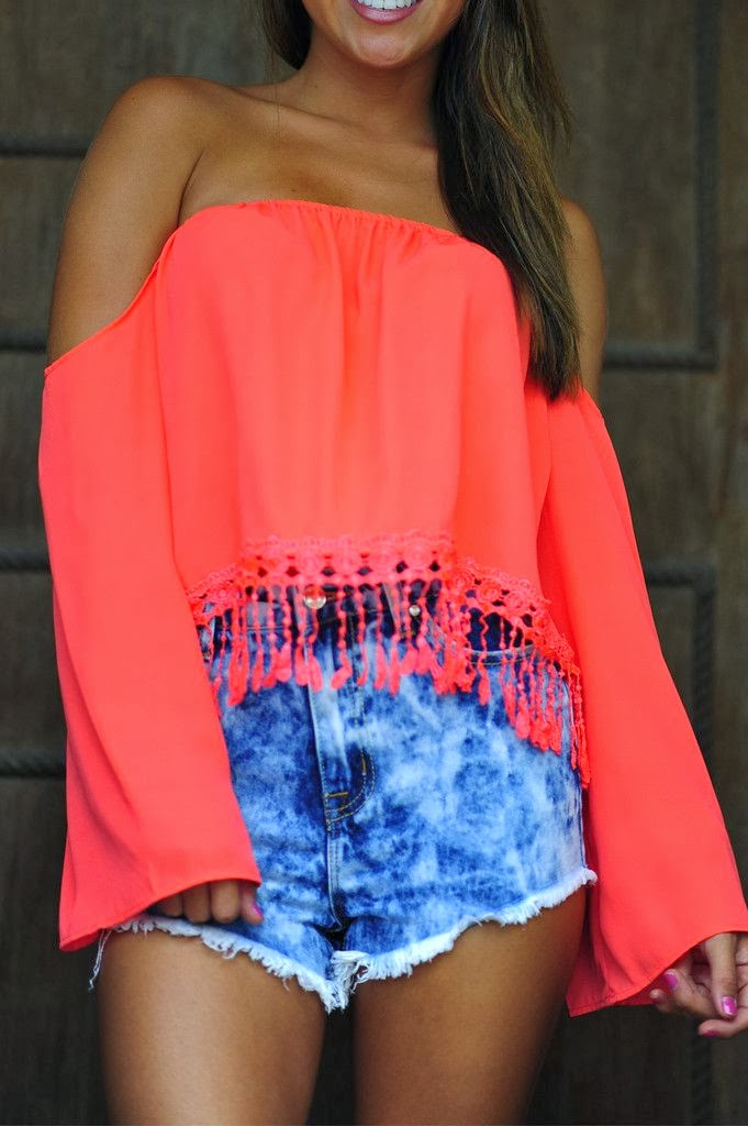On The Edge Of Fringe Crop Top: Coral