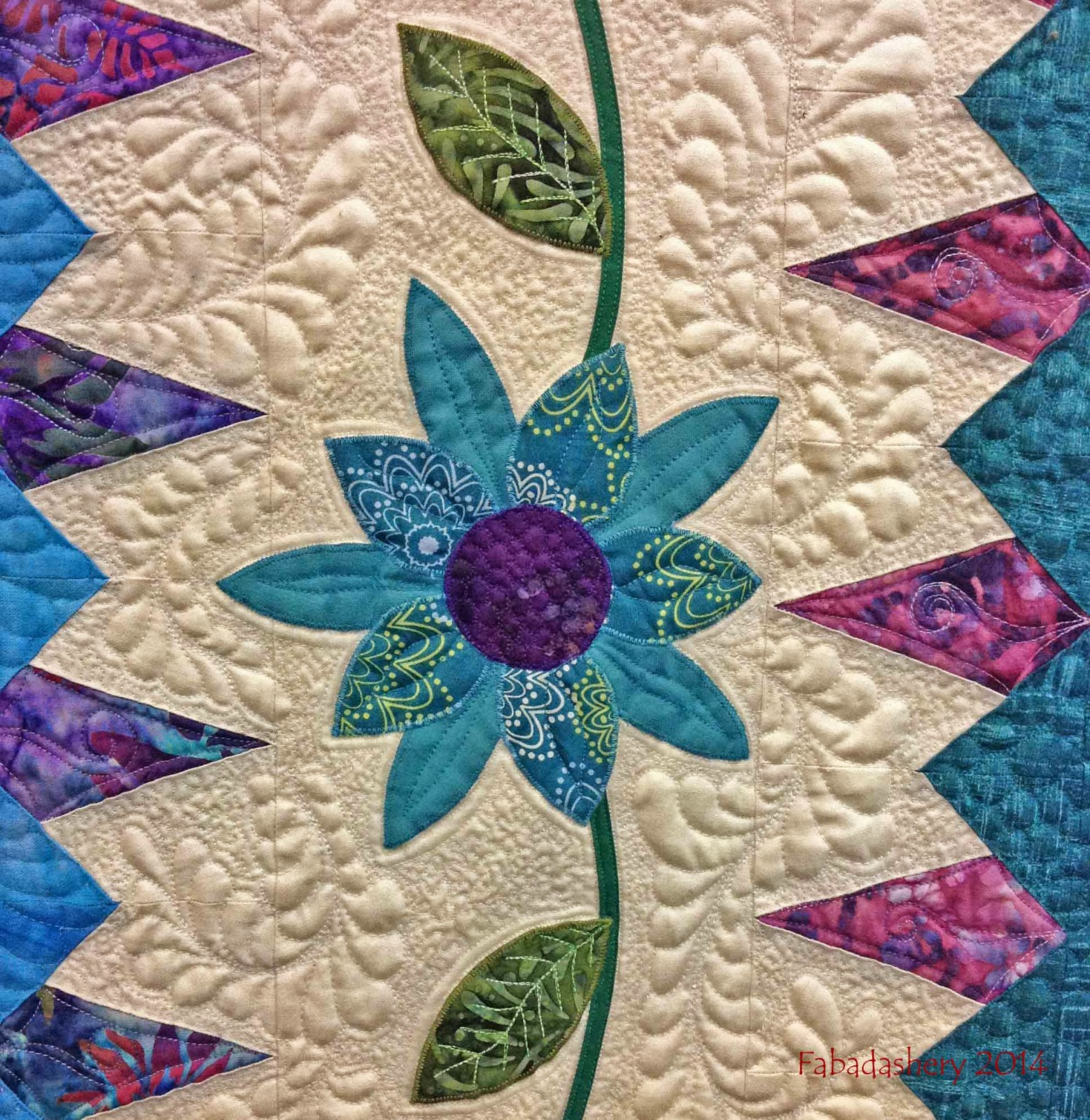 Detail - 'Enchanted Garden' Quilt by Rhianon Taylor