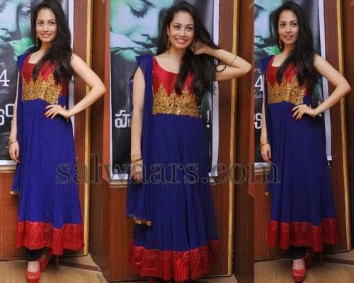 Nathalie in Blue Salwar Kameez