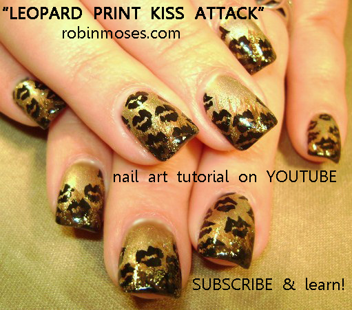 Nail Art Design Black And Gold Leopard Print Red Hot Kiss Attack