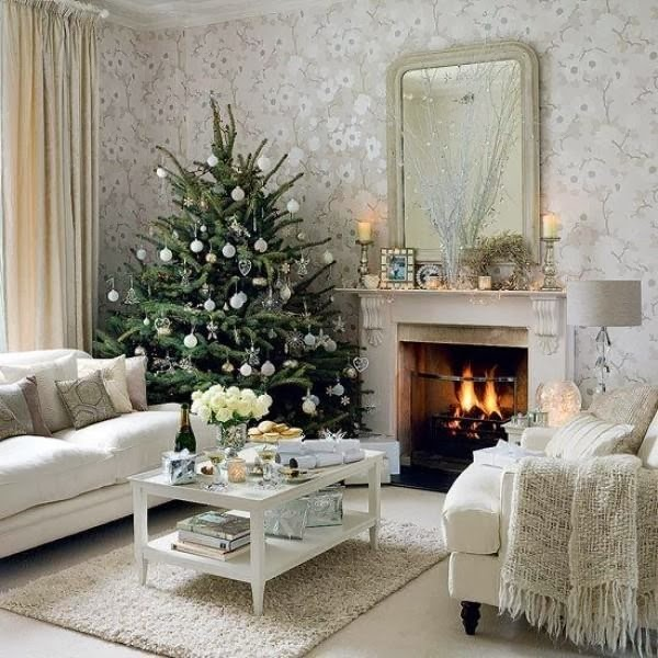 If You Love The Purity Of White Must Charming White Living Space , Quiet  And Peaceful , Warmth Revived Fireplace, Where The Presence Of A Beautiful  Tree, ...