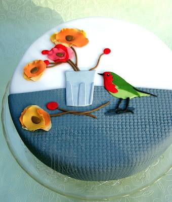 rotkehlchen robin cake torte fondant