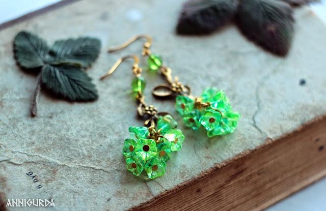 украшения, бижутерия, серьги, весенние серьги,зеленый, золото