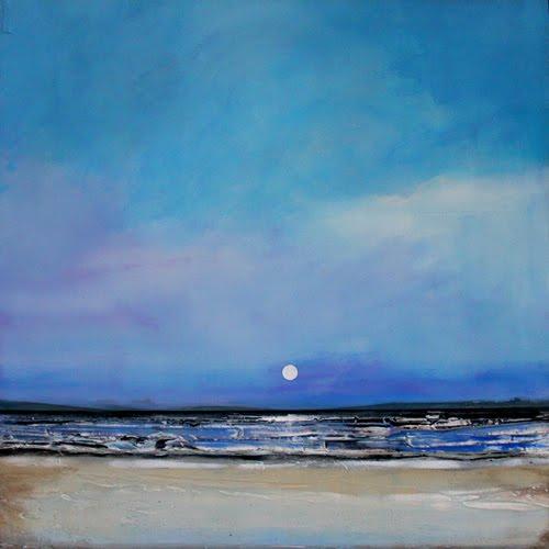 Sept 23 Minimalist Abstract Landscape Textured Night Beach 18x18