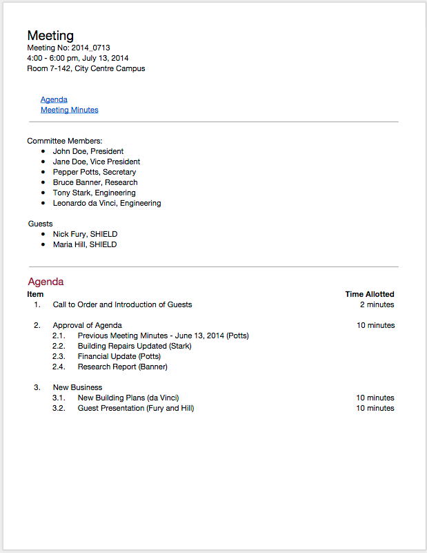Template   Hillaryrain.co   Best Resumes And Templates For Your ...  Meeting Agenda Sample Doc