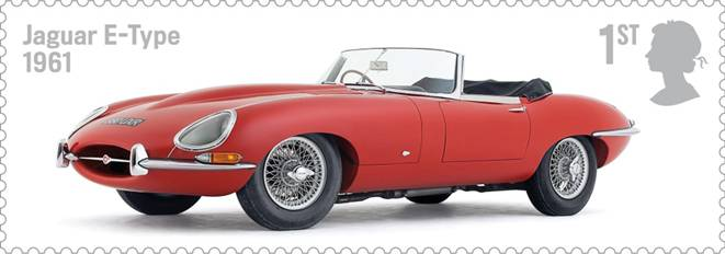 Royal Mail Auto Legends stamp with Jaguar E-Type