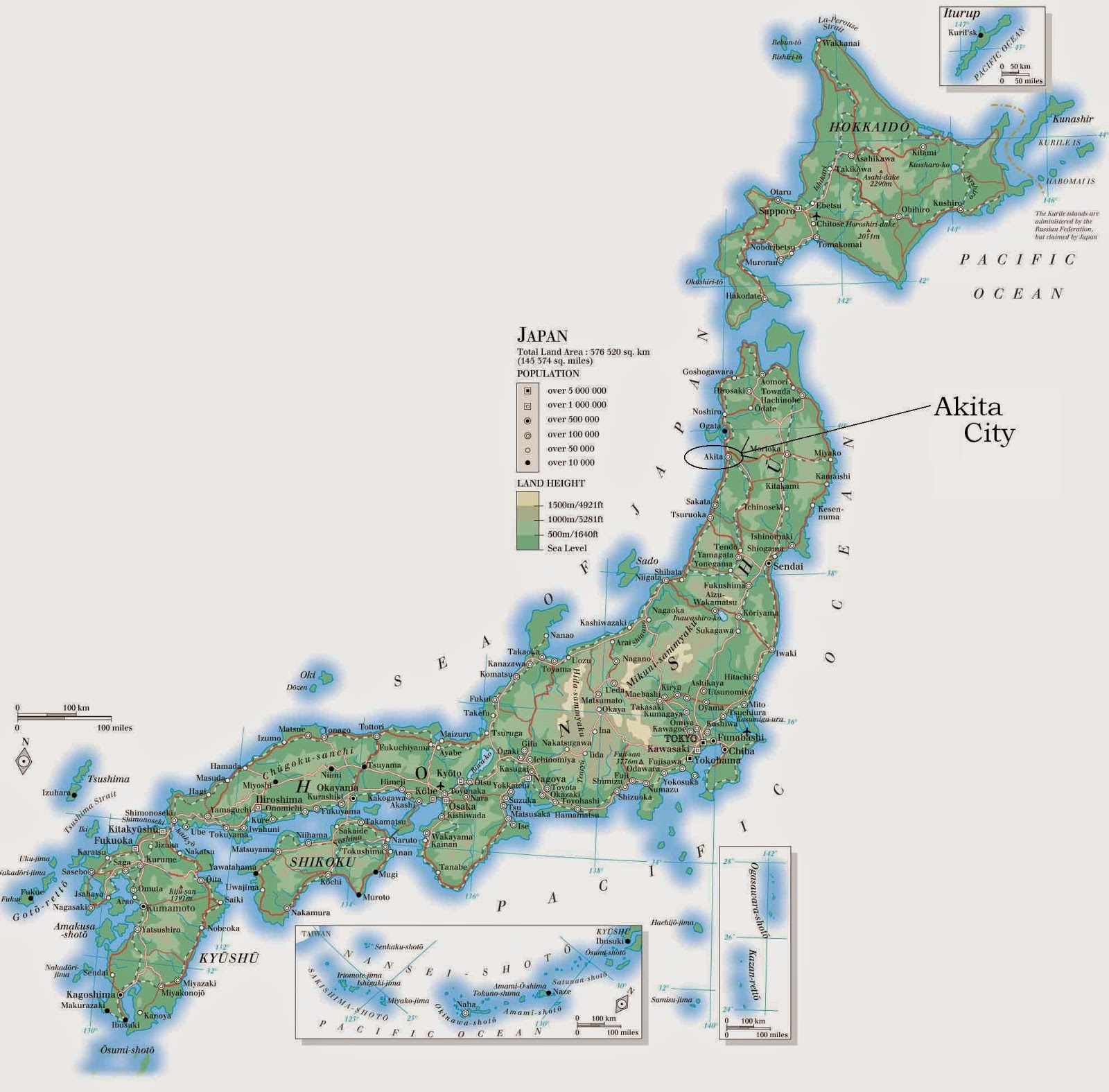 Japan elevation map with cities and boundaries