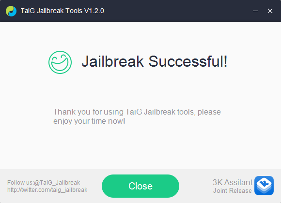 taig main screen showing the jailbreak process was complete