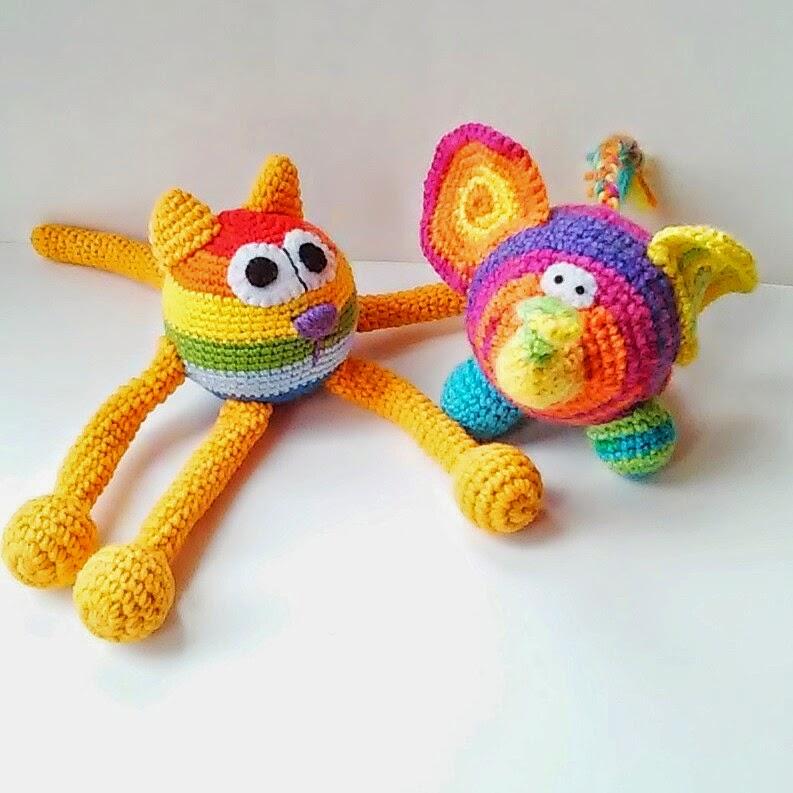 вязаные игрушки кот и слон