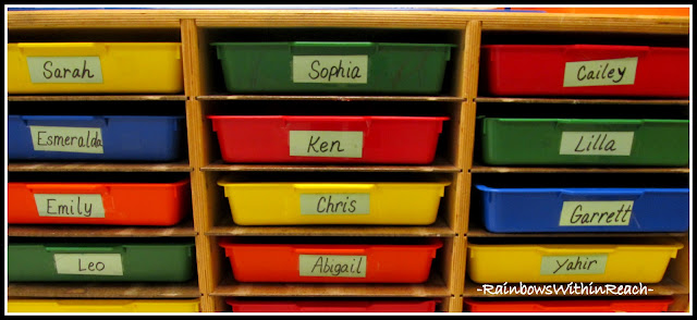 photo of: Organized Classroom: Individual Student Bins, labeled for each student in Kindergarten (Classroom Organization RoundUP via RainbowsWIthinReach)