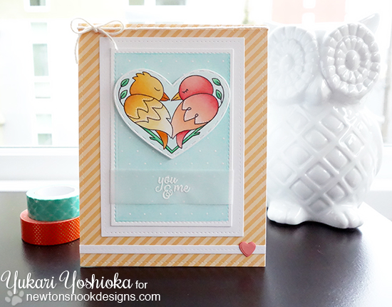 Bird Couple Valentine Card by Yukari Yoshioka | Darling Duos Stamp Set by Newton's Nook Designs #newtonsnook