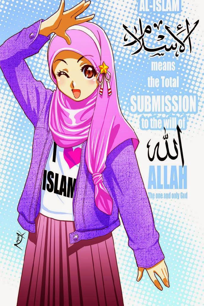 Gambar Kartun Cantik Islami Wanita Berjilbab Syari Kartun Imut