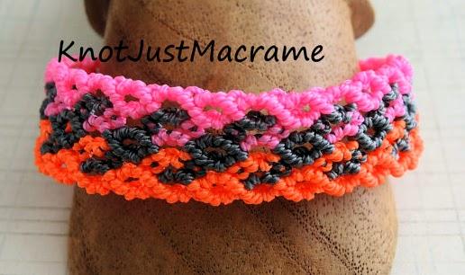 Micro macrame bracelet in neon cord colors by Sherri Stokey