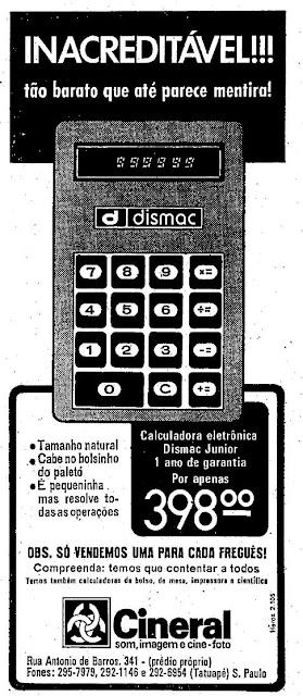 Propaganda da calcuradora Cineral em 1974