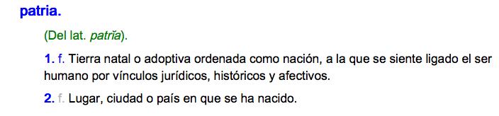 """Definición de """"Patria"""" según la Real Academia Española de la Lengua"""