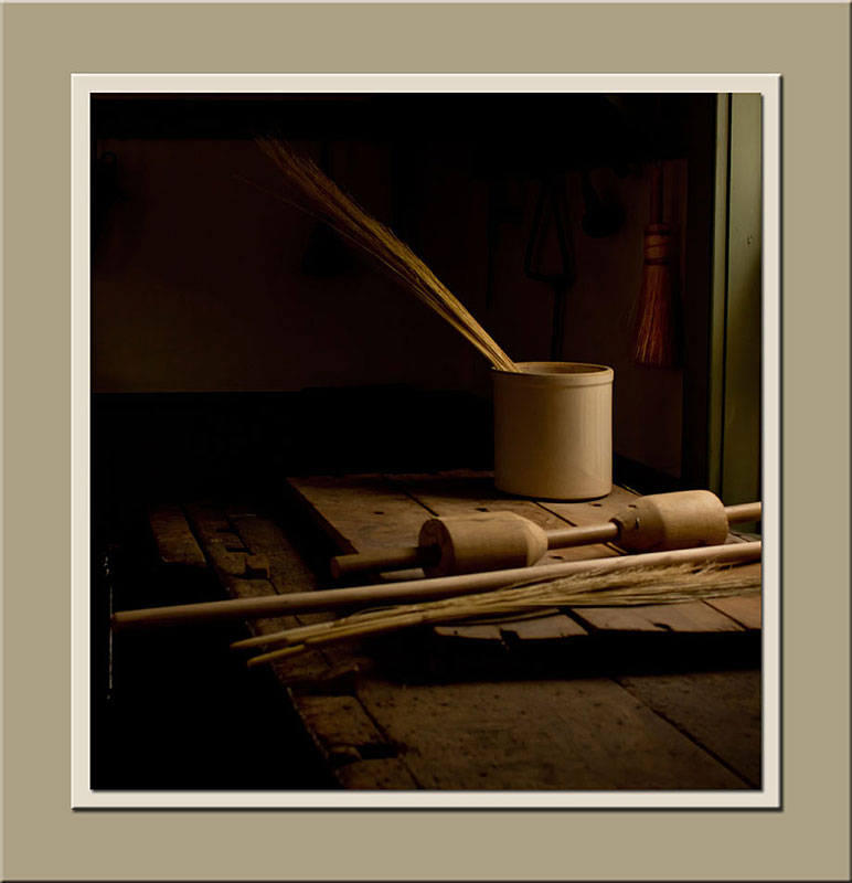 Still life photo in broom maker's shop at Black Creek Pioneer Village.