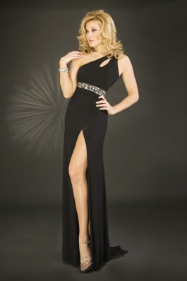 Elegant Prom Gown Long Black Beaded Satin One Shoulder
