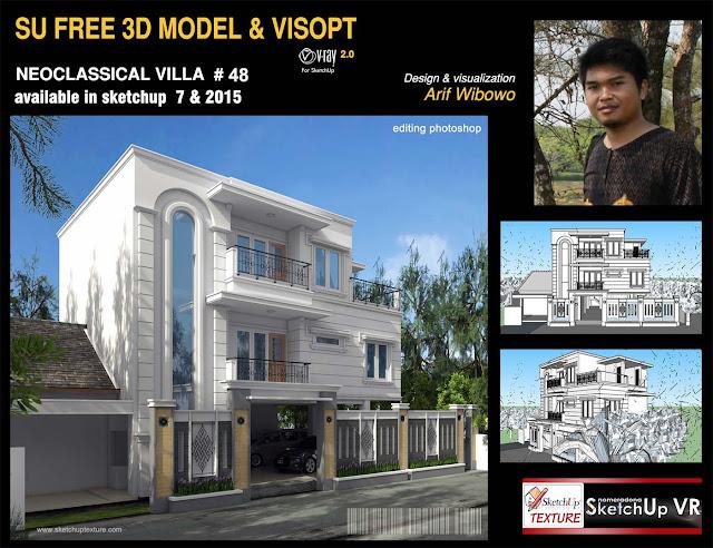 48# sketchup 3d model neoclassical villa vray exterior Visopt