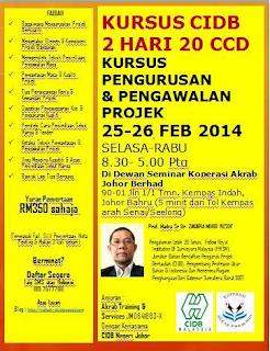 Kursus CIDB : Kursus CIDB 2 Hari 20 CCD Pengurusan & Pengawalan Projek 25-26 Feb 2014