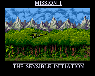 Cannon Fodder Amiga game helicopter flying scrolling forest to mission