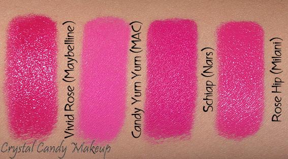 Rouge à lèvres Schiap de Nars - Lipstick - Review - Bright matte neon pink - Maybelline Vivid Rose - MAC Candy Yum Yum - Milani Rose Hip - Dupe